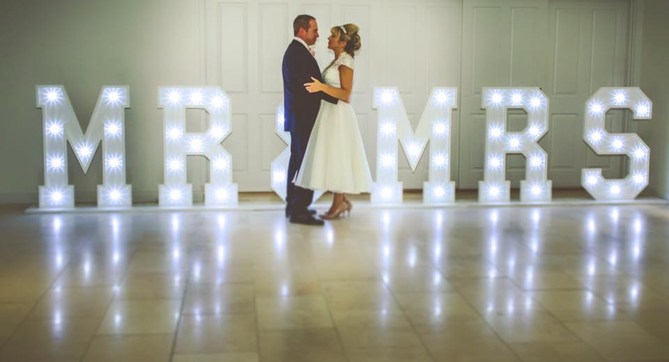 Mr Mrs Led Letters Hire In Liverpool Ozzy James Entertainment