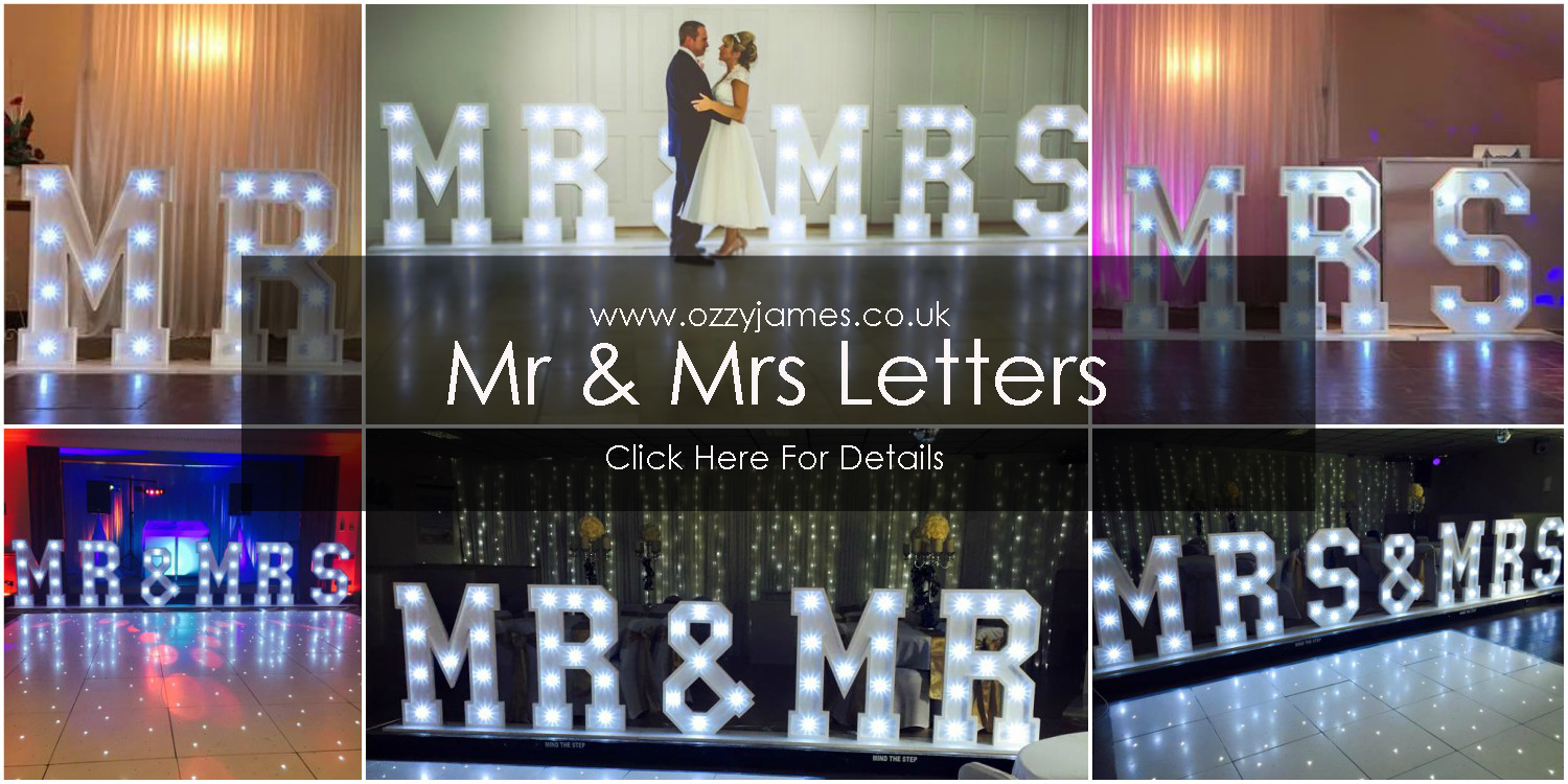 Mr Mrs Wedding Letters Hire Ozzy James Parties Events