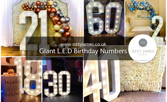 Giant Large LED Birthday Numbers For Hire In Liverpool, Merseyside, Wirral, Warrington, Widnes, Merseyside - Ozzy James Events
