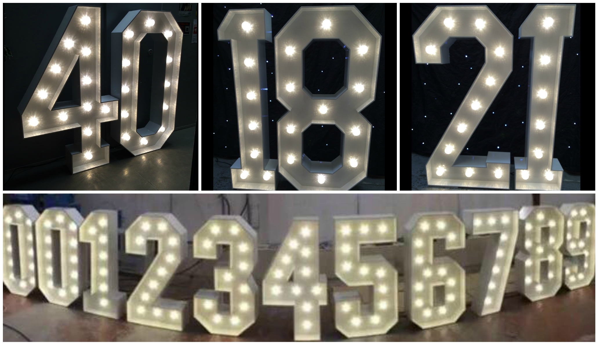 Giant Led Birthday Numbers For Hire Ozzy James Parties