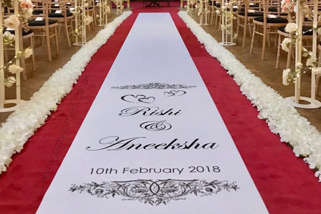 Personalised Church Aisle Runner, Liverpool, Wales, Wirral, Warrington, Cheshire - Ozzy James Events