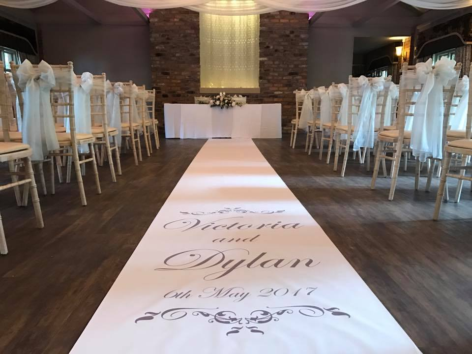 Personalised Wedding Aisle Runners -  Liverpool, Wirral, Warrington, Widnes, Wales - Ozzy James Events