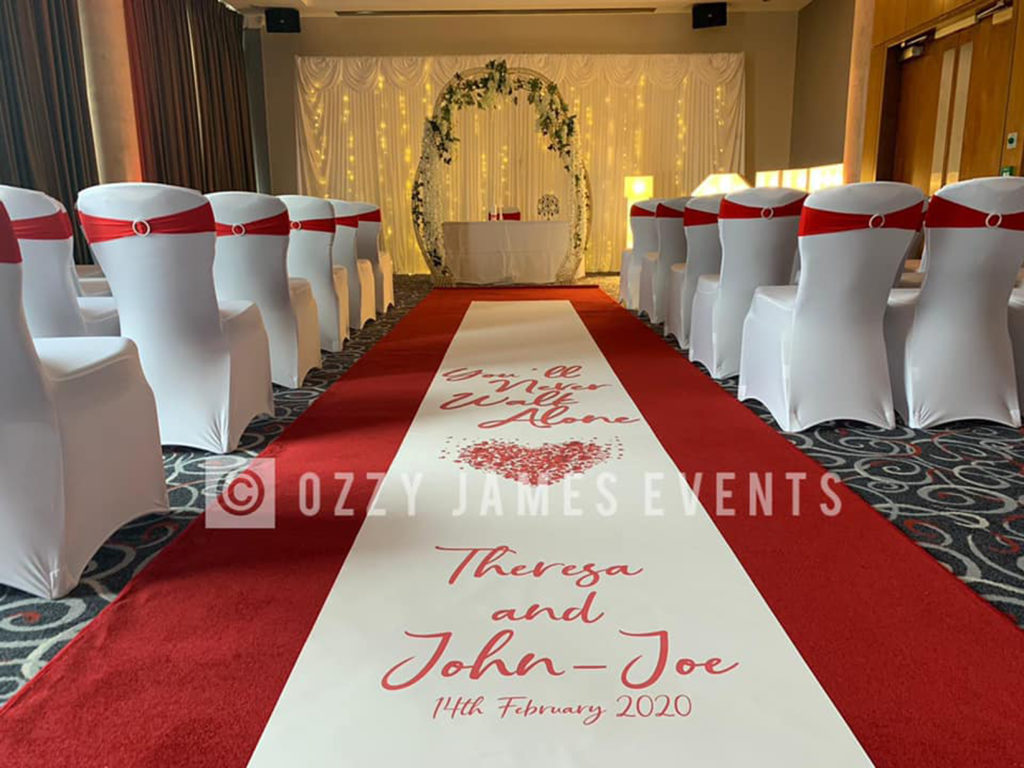 Personalised Registry Office Wedding Aisle Runner, Liverpool, Cheshire, Wirral, Lancashire - Ozzy James Events