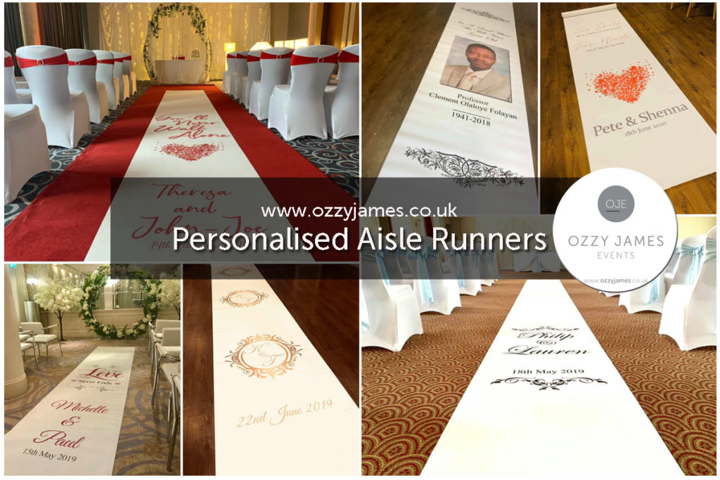 Personalised Wedding Ceremony Aisle Runners, Liverpool, Manchester, Birmingham, London, Kent, Essex - Ozzy James Events