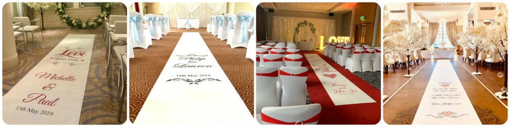 Personalised Wedding Aisle Runners, Liverpool, Blackpool, Wales, Scotland, London - Ozzy James Events