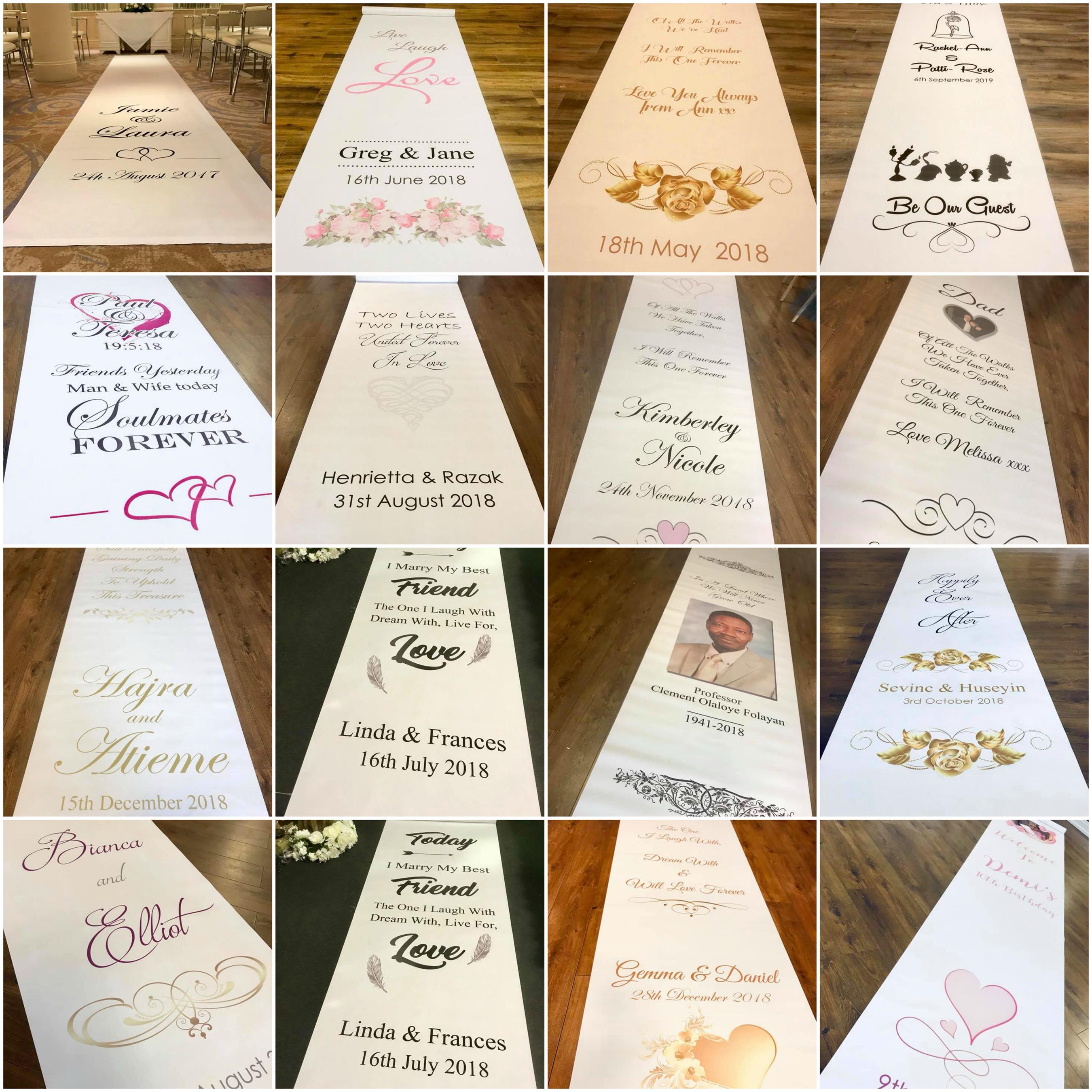 Personalised Wedding Aisle Runner Printed Wedding Aisle Runners
