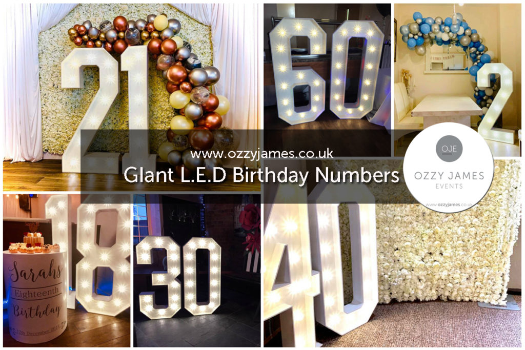 Giant Large LED Birthday Numbers Party Hire, Liverpool, Merseyside, Wirral, Warrington, Widnes - Ozzy James Events