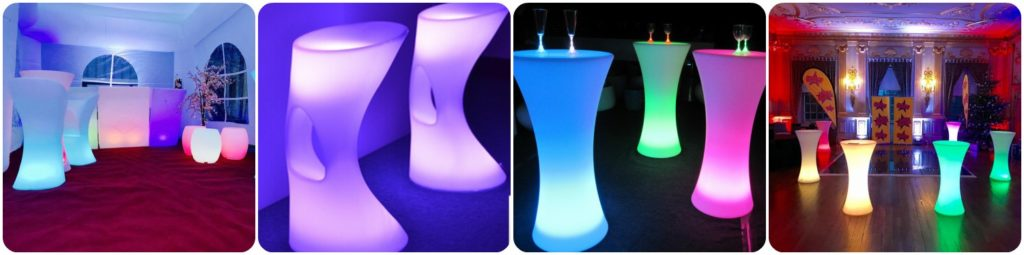 LED Table Chair Hire, Outdoor LED Furniture Hire, Liverpool, Warringington, Wirral, Widnes, Merseyside - Ozzy James Events