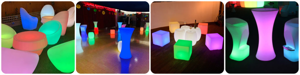 LED Table Chair Hire, Outdoor LED Furniture Hire, Liverpool, Warrington, Wirral, Widnes, Merseyside - Ozzy James Events