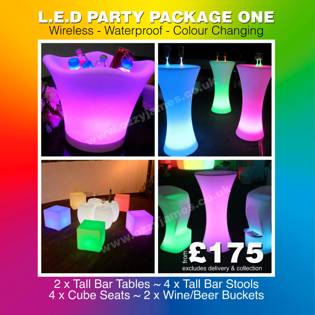 LED Party Furniture Hire Party Hire LIverpool, Wirral, Warrington, Widnes, Merseyside - Ozzy James Events