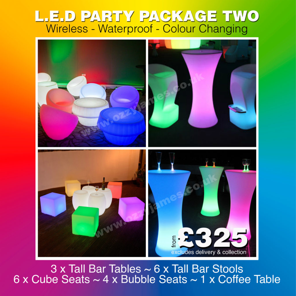 LED Table and Chair Hire, Garden Party LED Furniture Hire In Liverpool, Wirral, Merseyside, Warrington, Wirral - Ozzy James Events