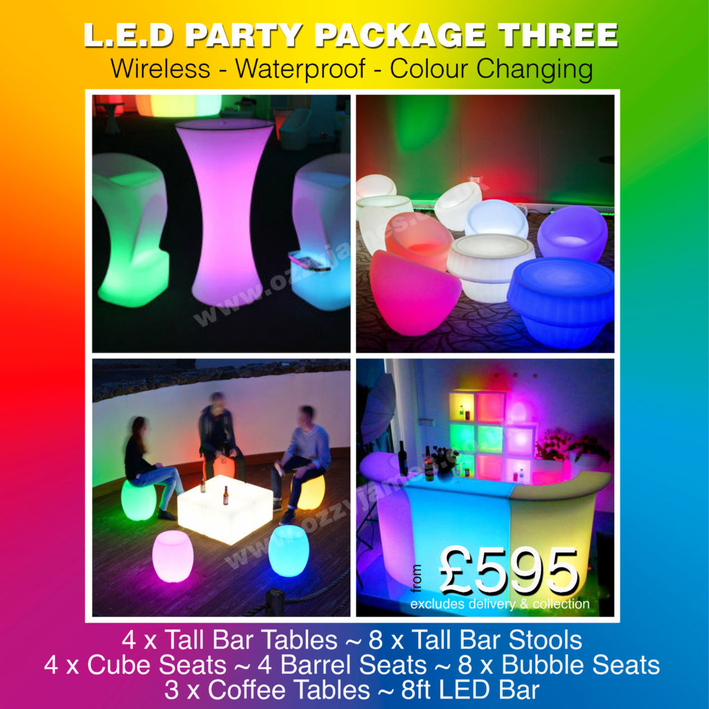 LED Glow Furniture Hire House Party Garden Party LED Furniture, Liverpool, Merseyside, Wirral, Warrington, Widnes - Ozzy James Events