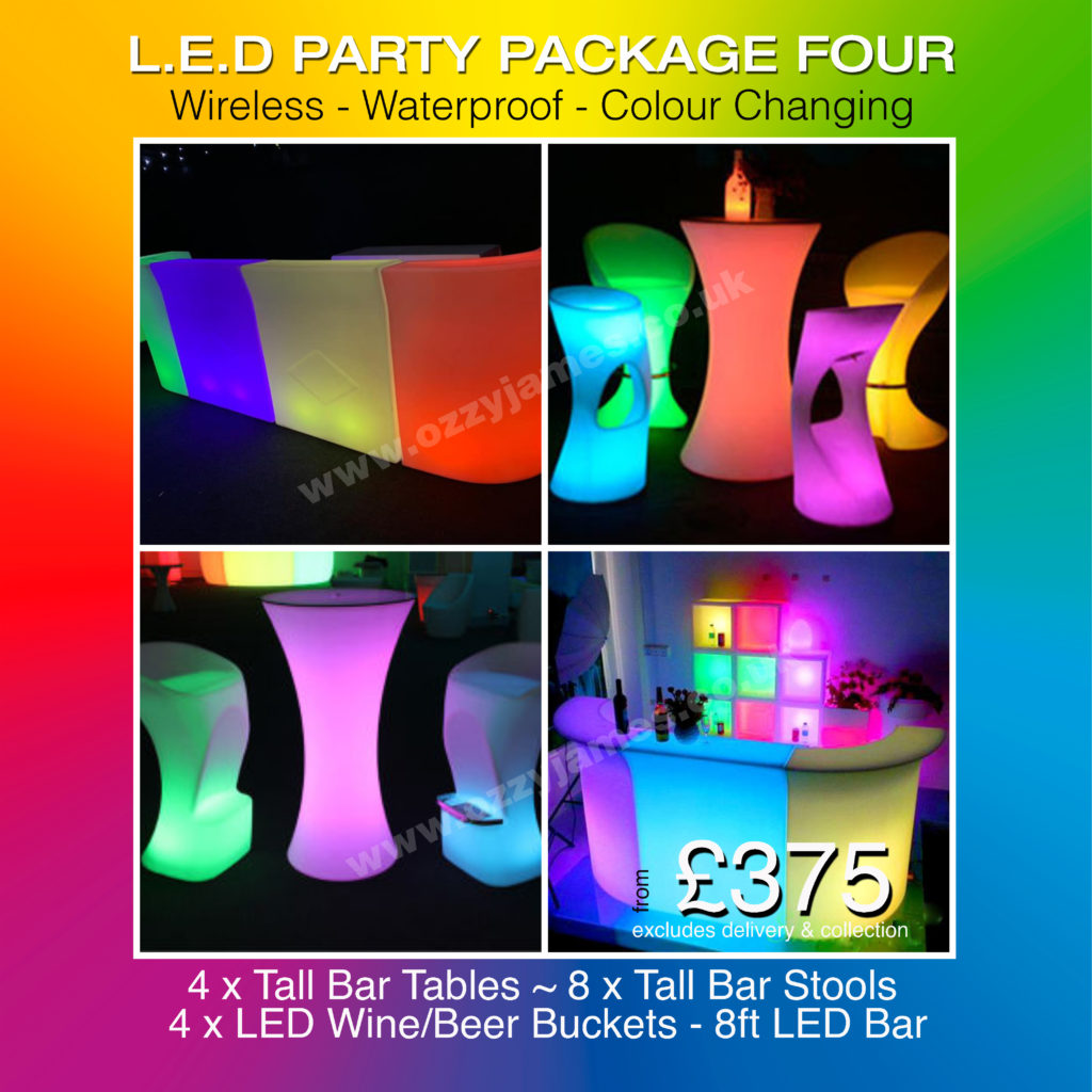LED garden party house party furniture hire Liverpool, Wirral, Wigan, Warrington, Manchester, Cheshire - Ozzy James Events