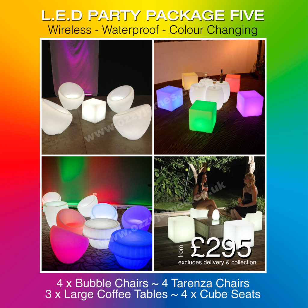 LED light up party furniture hire, LED table hire, LED chair hire, LIverpool, Wirral, Warrington, Widnes, Cheshire, Manchester - Ozzy James Events