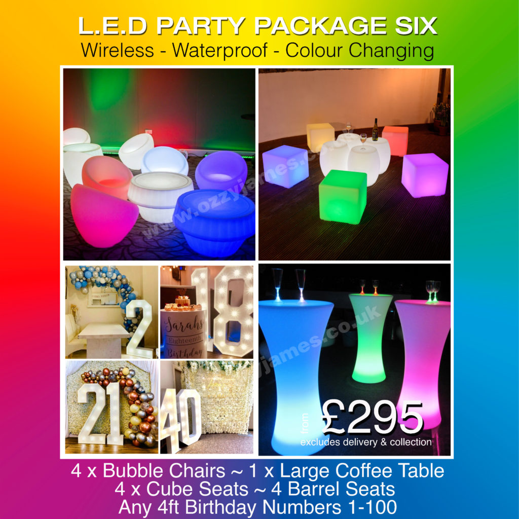 LED party hire, LED bar stools, LED bar tables, LED Bar hire, Liverpool, Wirral, Warrington, Cheshire, Widnes - Ozzy James Events