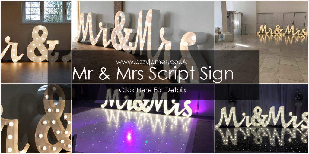 Mr and Mrs wedding sign hire Cheshire