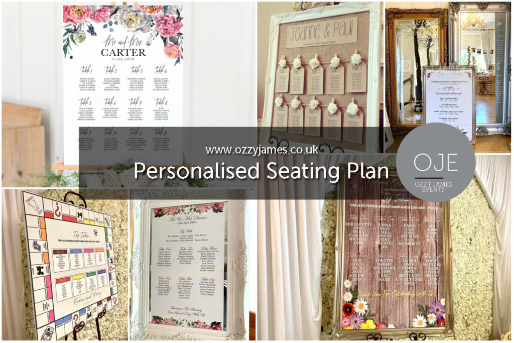 Personalised Wedding Seating Plan Printer Liverpool, Widnes, Warrington, Wirral, Cheshire - Ozzy James Events