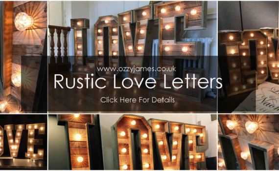 rustic love sign hire