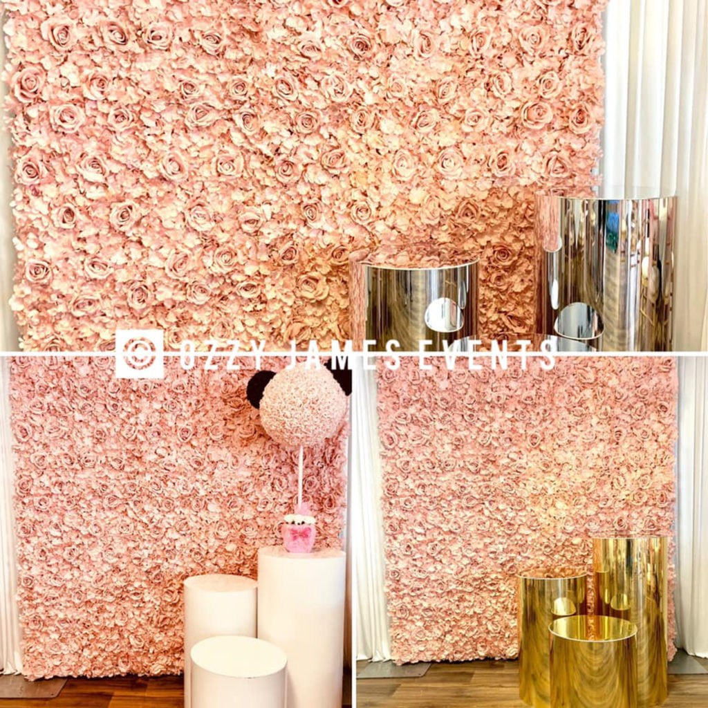 Rose Gold Wedding Baby Shower Flower Wall Hire Liverpool, Wirral, Manchester, Cheshire