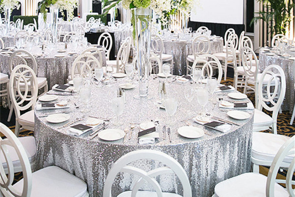 silver sequin table cloth hire