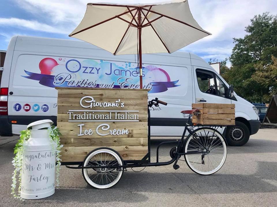 vintage old fashioned wedding ice cream bike hire