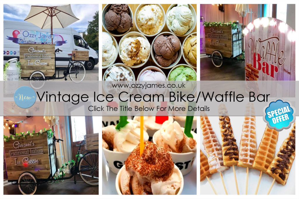vintage old fashioned ice cream bike hire wedding package waffle bar hire special offer cheap wedding deals - Ozzy James Events