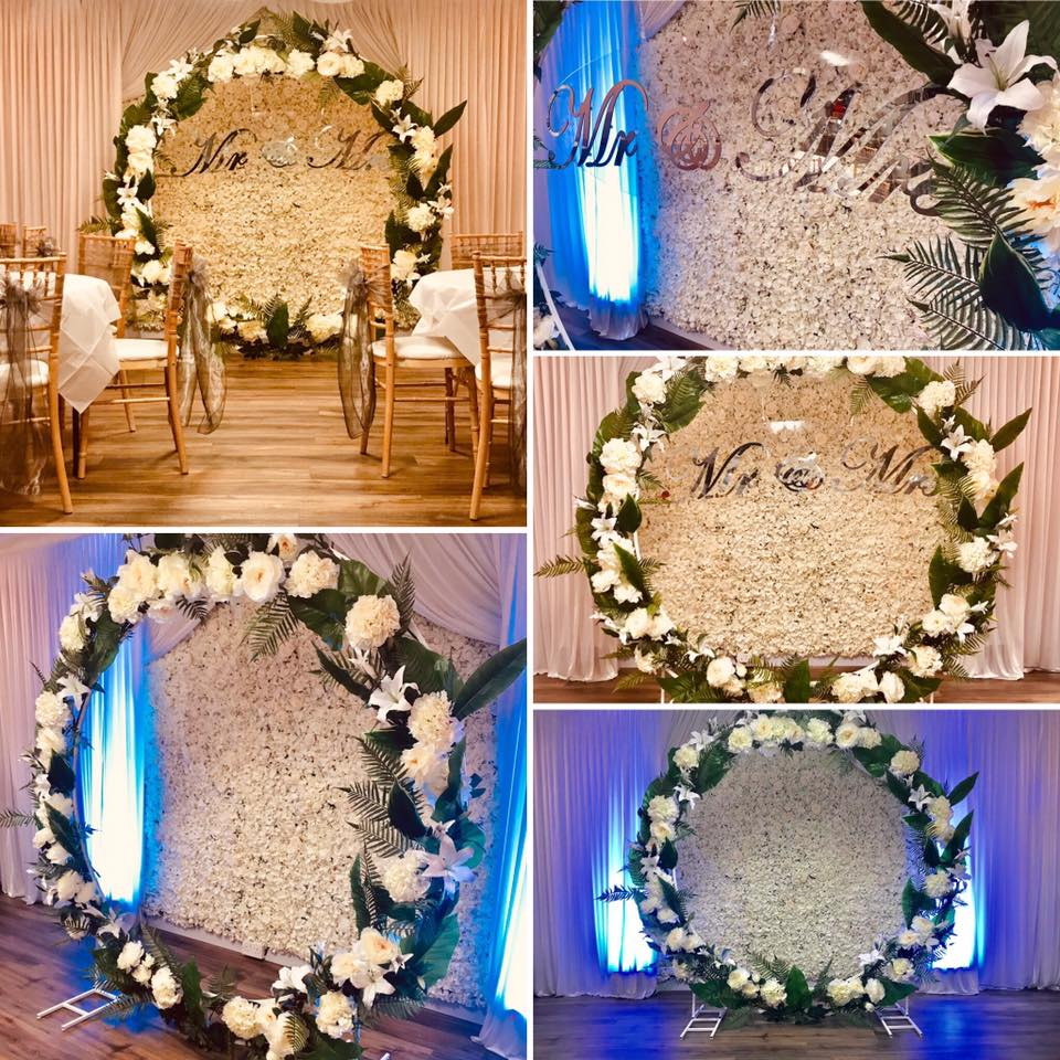 floral wedding moon frame hire - wedding party planner liverpool - wedding packages cheshire - floral wedding arch hire