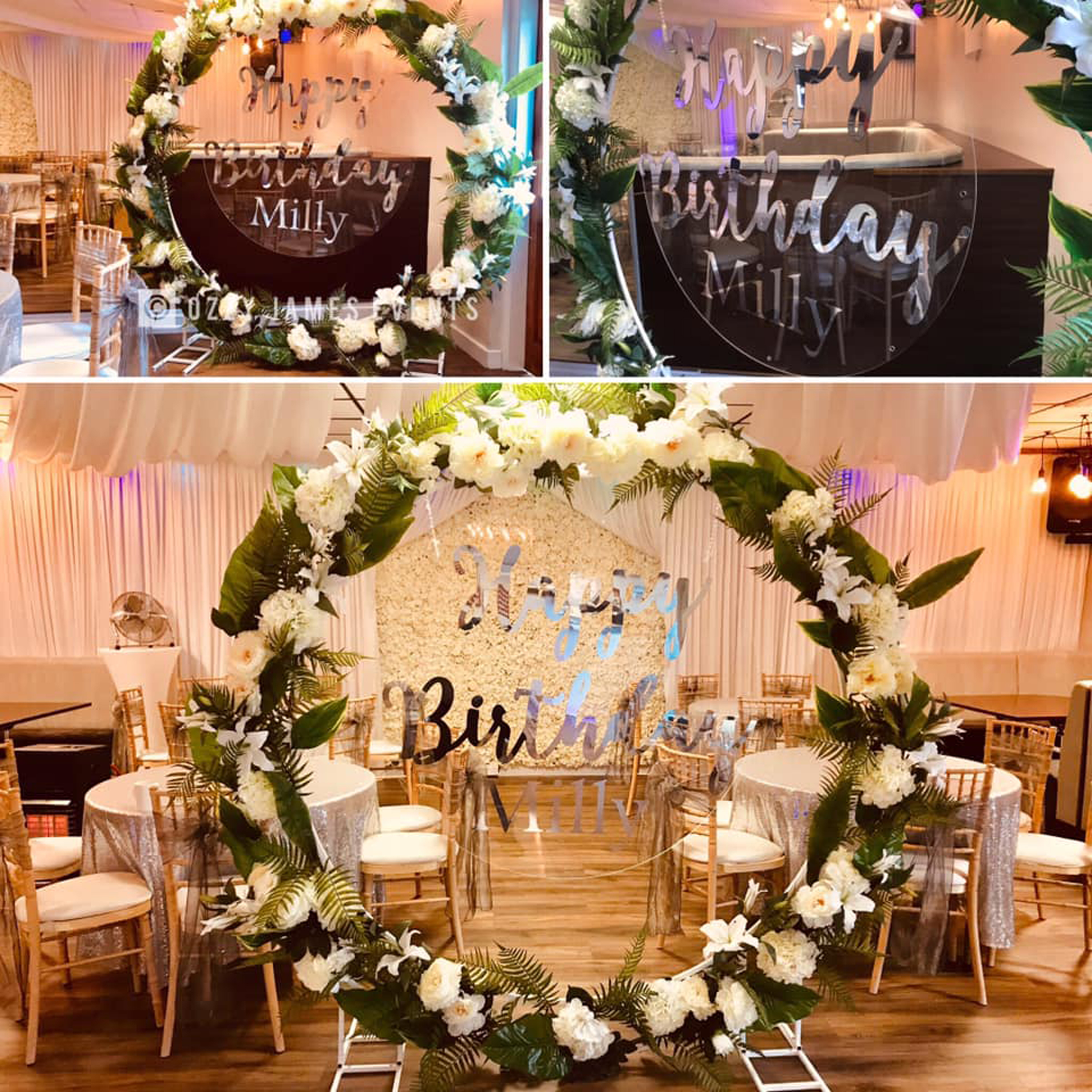 Floral moon floral wedding ceremony moon floral hoop hire ozzy james events