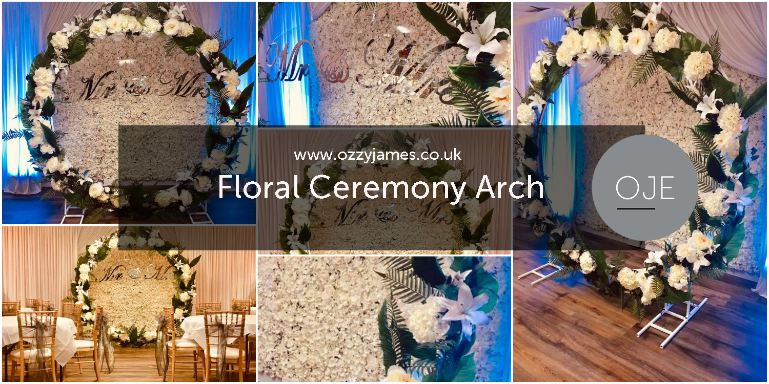 Floral wedding ceremony moon frame stand hire floral wedding arch hire
