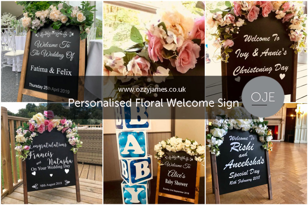 Personalised Wedding Welcome Sign, Personalised Floral Welcome Sign Hire Liverpool, Wirral, Cheshire, Southport