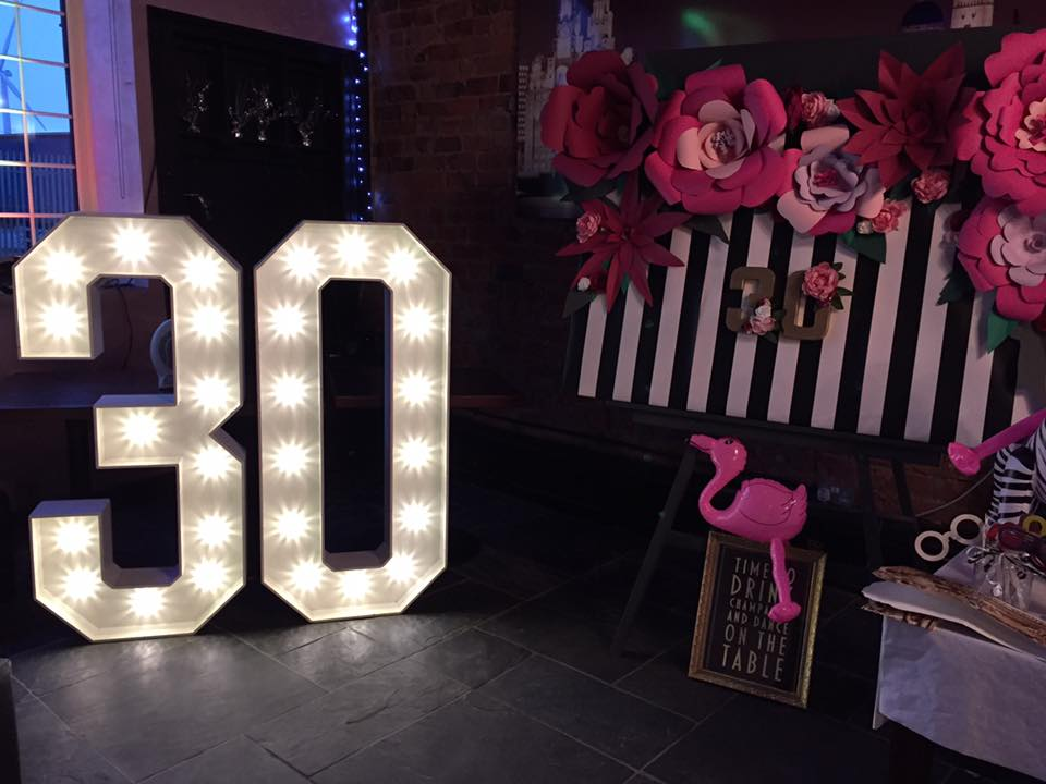 LED big light up birthday numbers for hire in liverpool wirral warrington southport formby