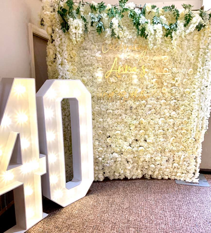 LED 40 big birthday numbers for hire in liverpool wirral warrington widnes prescot kirkby