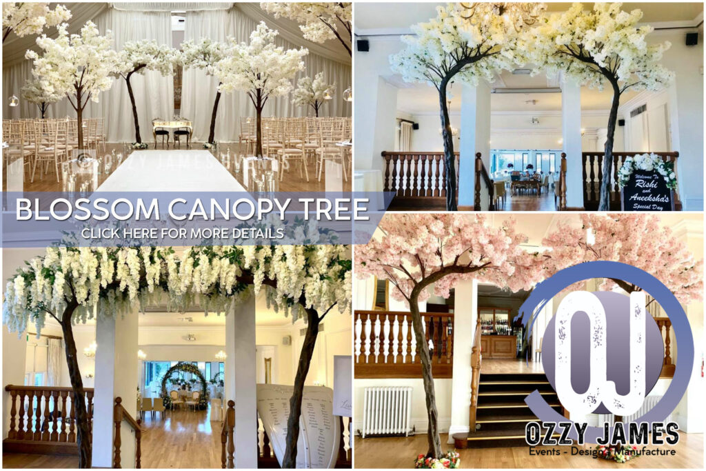 10ft artificial wedding blossom canopy tree arch for hire, wedding party hire in liverpool, merseyside, wirral, cheshire and manchester
